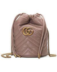 Gucci Mini borsa a secchiello GG Marmont - Marrone