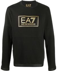 EA7 ロゴ スウェットシャツ - ブラック
