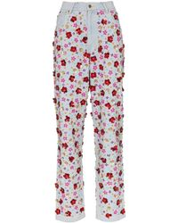 Ashish Floral Sequin Embroidered Jeans - Multicolour