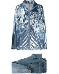 Juun.J Set jeans affusolati e giacca leggera - Blu
