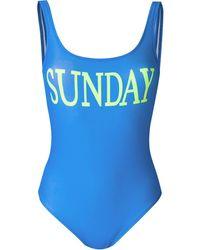 Alberta Ferretti Sunday Lycra One Piece Swimsuit - Blue