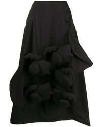 Enfold 3d アップリケ スカート - ブラック