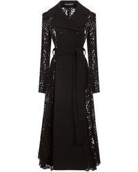 Dolce & Gabbana Тренч С Поясом И Кружевной Вставкой - Черный