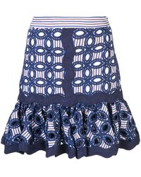 Alexis Embroidered Sheila Skirt - Blue