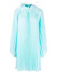 Styland フェザーディテール プリーツドレス - ブルー