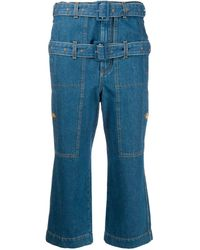 Lanvin Belted Cropped High-rise Straight-leg Jeans - Blue