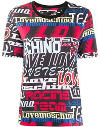 Love Moschino - All-over Logo Print T-shirt - Lyst