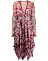Etro Платье С Абстрактным Леопардовым Принтом - Розовый