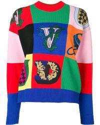 Versace Джемпер В Технике Пэчворк С Логотипом - Красный
