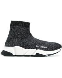 Balenciaga Speed Stretch-Knit High-Top Trainers - Black