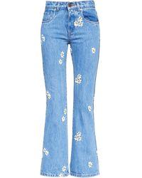 Miu Miu Floral Embroidered Jeans - Blue