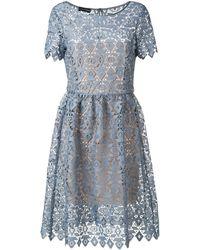 Emporio Armani マクラメ ドレス - ブルー