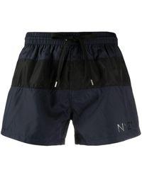 N°21 Stripe Detail Logo Swimming Shorts - Blue