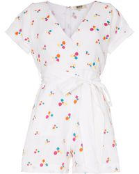 All Things Mochi Kalani Embroidered Playsuit - White