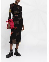 Ganni Vestido midi con motivo floral fruncido - Negro