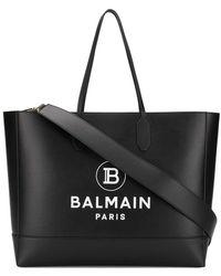 Balmain ロゴ ハンドバッグ - ブラック