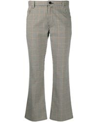 Altea Gingham Check Cropped Trousers - Grey
