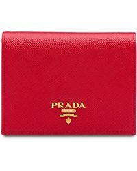 Prada Petit portefeuille en cuir Saffiano - Rouge
