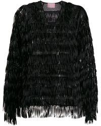 Giamba Fringed Sequin-embellished Blouse - Black