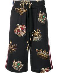Dolce & Gabbana Pantalones cortos de deporte con coronas - Negro