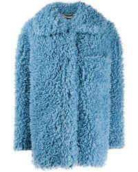 Stella McCartney Фактурное Пальто Оверсайз Без Застежки - Синий