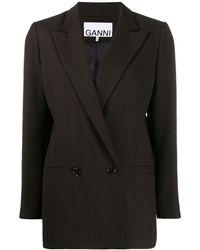 Ganni - チェック オーバーサイズジャケット - Lyst