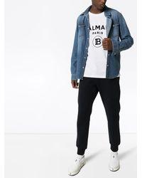 Balmain Camiseta de tejido afelpado con logo - Blanco