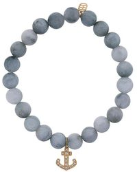 Sydney Evan - Grey Cat's Eye Beaded Bracelet With Diamond Anchor Charm - Lyst