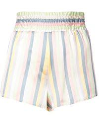 Lyst - Morgan Lane Corey Striped Silk Satin Pajama Shorts in Pink 1be8a54a0