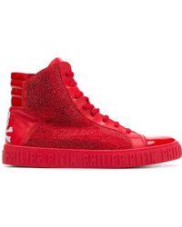 Philipp Plein Rhinestone Embellished Hi-top Sneakers - Rood