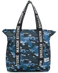 Maison Kitsuné Logo Tape Tote Bag - Blue