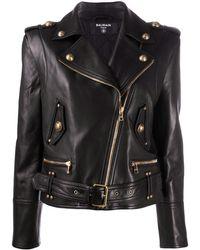 Balmain Укороченная Байкерская Куртка С Логотипом - Черный
