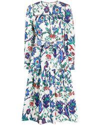 Tory Burch Платье Миди С Цветочным Принтом - Белый