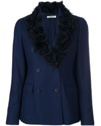 Lardini - Ruched Lapel Double Breasted Blazer - Lyst