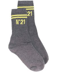 N°21 Ribbed Logo Ankle Socks - Gray