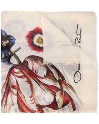 Oscar de la Renta Floral Calligraphy Modal-cashmere Scarf - White