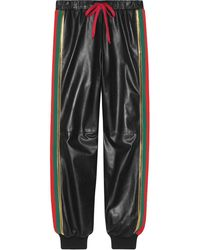 Gucci Leather jogging Pant With Web - Black
