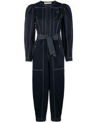 Ulla Johnson Leo Belted Cotton-twill Jumpsuit - Blue