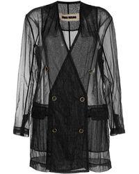 Uma Wang Sheer Textured Double-breasted Blazer - Black