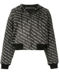 Alexander Wang Logo Print Denim Jacket - Grey