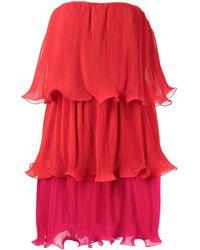 MILLY Robe Sylvie courte plissée - Rouge