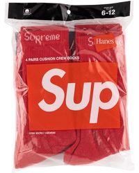 Supreme ロゴ 靴下 - レッド