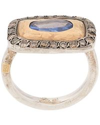 Rosa Maria Anello Lotta in oro giallo 18kt, argento e diamanti - Metallizzato