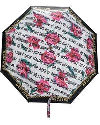 Moschino Paraguas con eslogan - Blanco