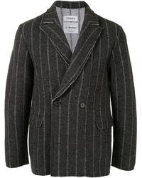 Coohem Stripe-print Double-breasted Blazer - Grey