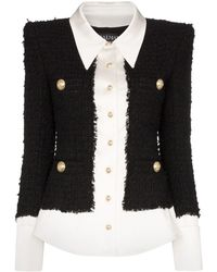Balmain Button Front Blazer - Black
