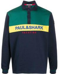 Paul & Shark カラーブロック ポロシャツ - ブルー
