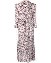 Chloé Floral Print Wrap Dress - Grey