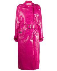 Saks Potts Caliente Crocodile-effect Trench Coat - Pink