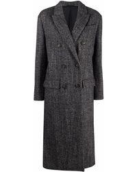 Brunello Cucinelli Двубортное Пальто С Узором В Елочку - Черный